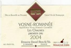 Daniel Rion Vosne Romanee 1er Cru Les Chaumes 2015