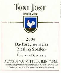 Toni Jost Bacharacher Hahn Riesling Spatlese Mittelrhein 2008