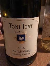 Toni Jost Am Schlossberg Riesling Spätlese Mittelrhein 2016