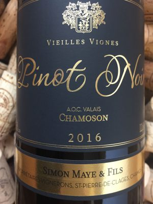 Simon Maye Pinot Noir vieille vigne Chamoson Valais 2016
