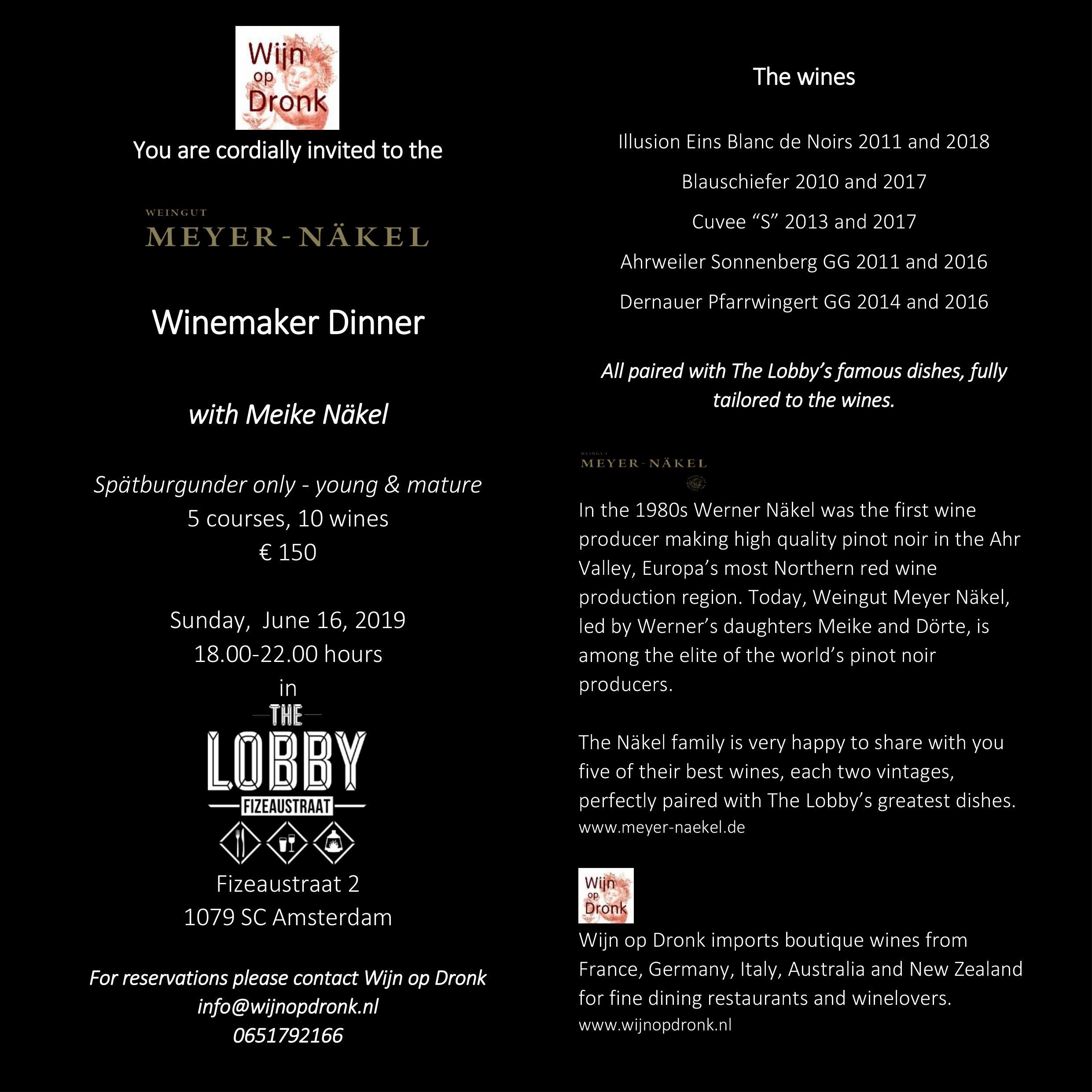 Winemakers dinner Meyer Naekel 16 June 2019