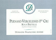 Francoise Andre Pernand Vergelesses 1 Cru Sous Fretille 2017