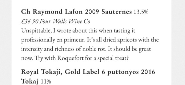 Jancis Robinson's 2020 festive recommendations – sweet and strong noemt Raymond Lafon Sauternes!